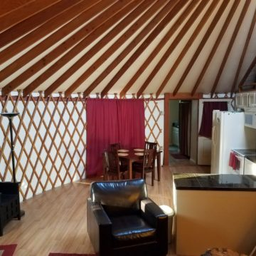Interior of Yurt with kitchen